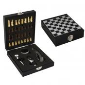 Estojo Com Abridor de Vinho e Jogo de Xadrez